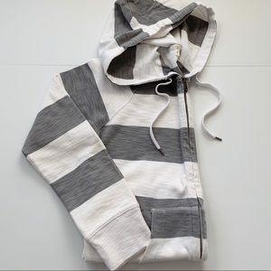 J. Crew Gray & White Stripe Cotton Hoodie NWOT